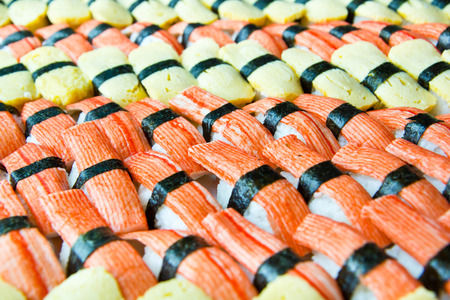 background of sushi with egg and Imitation Crab Stick
