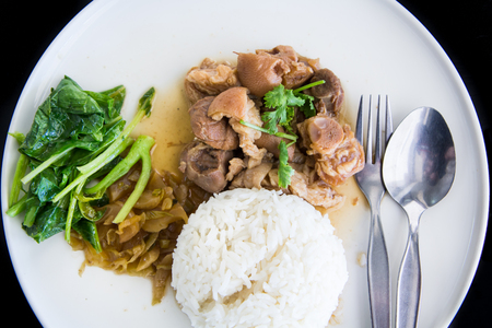 stewed: Stewed Pork Leg with Pickled Mustard Greens and rice