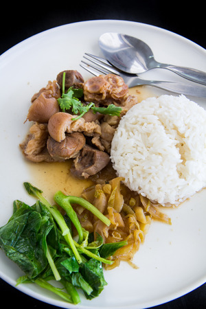 Stewed Pork Leg with Pickled Mustard Greens and rice
