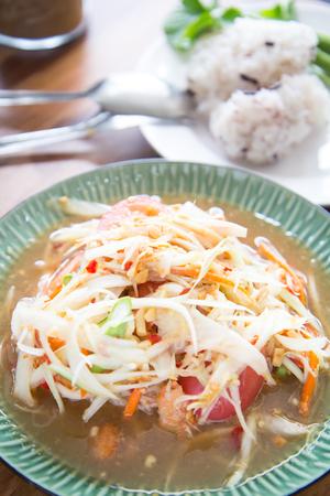 green papaya salad: Hot and spicy papaya salad, Thai food