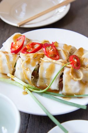 Fresh spring rolls with sauce on white plate,Thai food Stock Photo