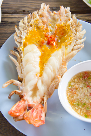 rosenbergii: Grilled fresh big shrimp  Macrobrachium rosenbergii at Thailand seafood restaurant.