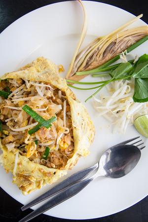 Shrimps Pad Thai Thailand's national dishes Zdjęcie Seryjne
