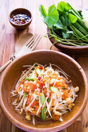 thai food: Spicy Thai papaya salad, Thai food