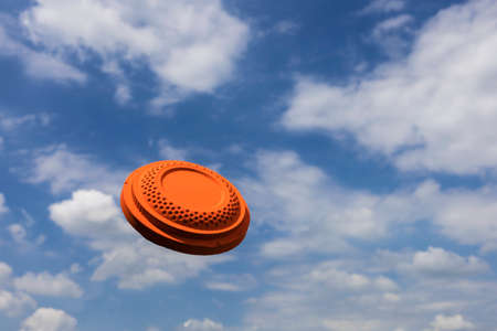 Clay target shooting on the blue sky
