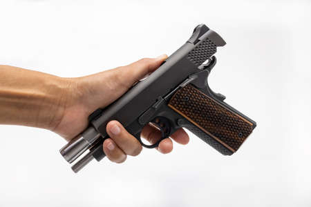 Unloaded and holding slide before handing the gun to the others , Safety law , Gun safety concept
