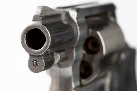 Close up of barrel revolver gun on white background , Pocket gun or Concealed pistol Stock Photo