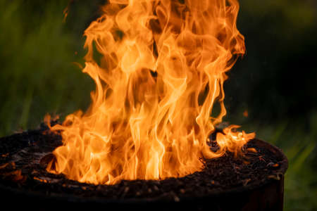 The flames of fire from the smokeless waste incinerator Reduce pollution concept