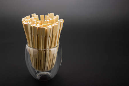 Mini bamboo fork in a glass , Can be used as a background