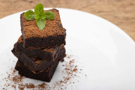 Chocolate brownies with pepper mint leaf on top on white plate background