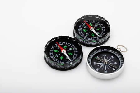 Vintage compass, navigational compass on white background
