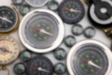 Many navigation compass on white background
