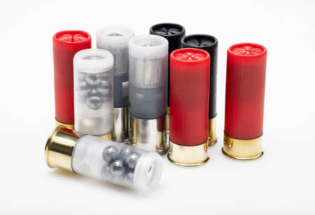 Difference type of shotgun shell bullets on white background