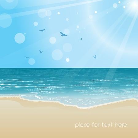 paesaggio mare: Mare, bellissima spiaggia e illustrazione sfondo cielo