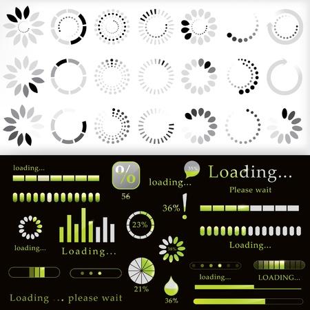 progress steps: Collection of modern preloader, progress loading bars and downloading circle