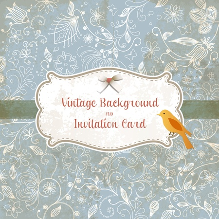 Cute wedding invitation card with vintage ornament background. Perfect as invitation or announcement.