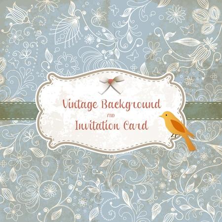 deseos: La boda linda tarjeta de invitaci�n con el fondo ornamento de la vendimia. Perfecto como invitaci�n o anuncio.