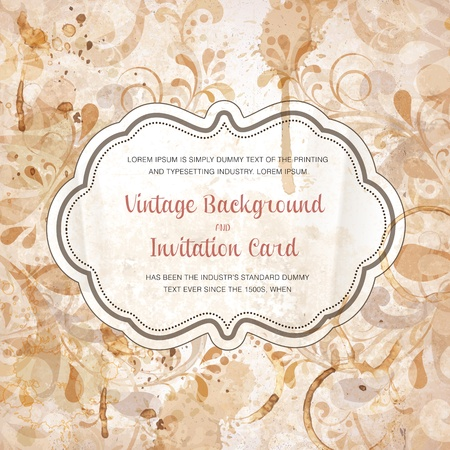 Scrapbook style retro background or greeting card with stained paper