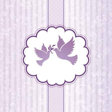 wedding card design: Elegant greeting flowers background illustration Illustration