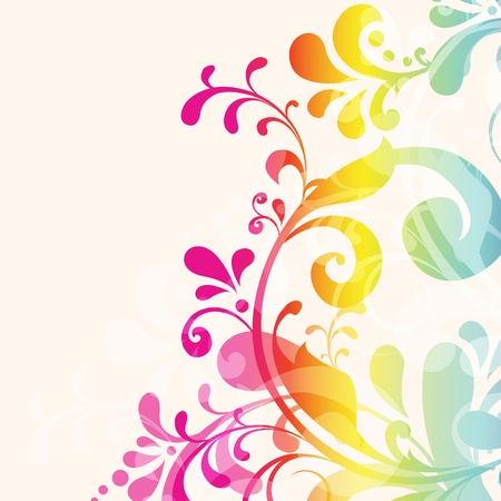 multicolored background: Vintage card with colorful floral ornament design Illustration
