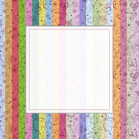 Vintage invitation card with colorful striped background. Perfect as invitation or announcement.