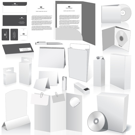 Vector blank packing collection. Set of white paper packaging and stationery elements. Dummies set to place your design on Vector