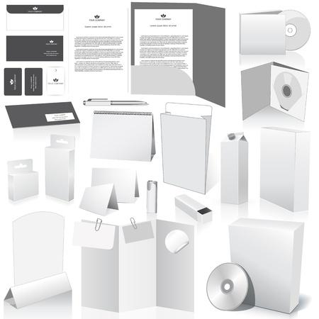 Vector lege verpakking collectie. Set van witte papieren verpakkingen en briefpapier elementen. Dummies ingesteld op uw ontwerp te plaatsen op