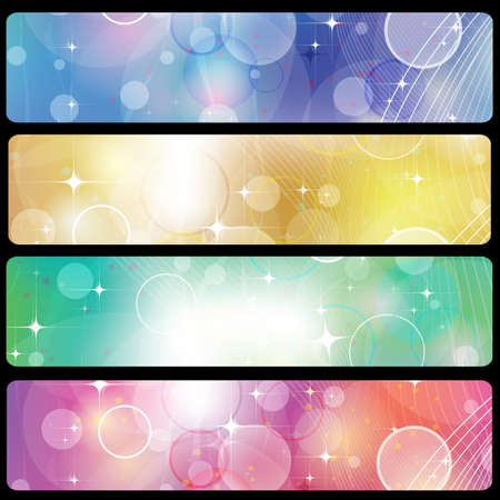 Banners, headers abstract lights set 03 Vector