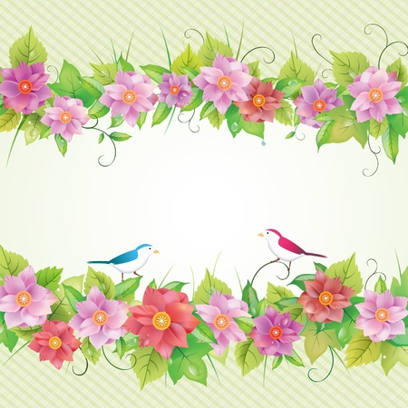 Beautiful floral invitation card, bird illustration. Vector
