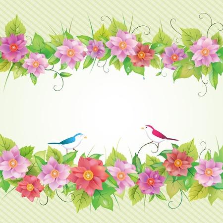 birthday flowers: Mooie bloemen uitnodigingskaart, vogel illustratie.
