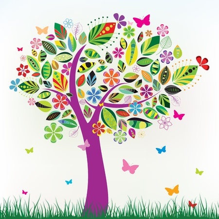 bloom: Beautiful floral tree with green grass and butterflies Illustration