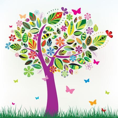 deciduous tree: Hermoso �rbol de flores con hierba verde y mariposas