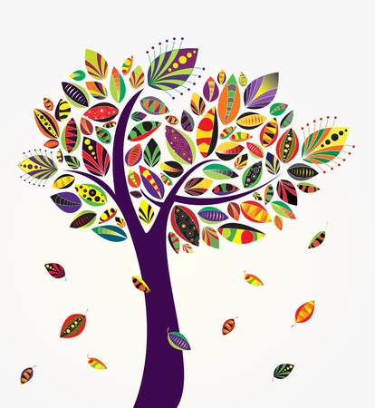 autumn leaves falling: Vector cute tree