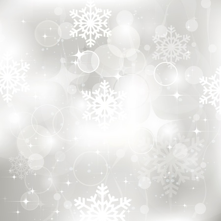 snowflake: Vector glittery silver Christmas background