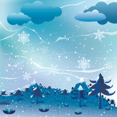 Vector Christmas landscape background  Vector
