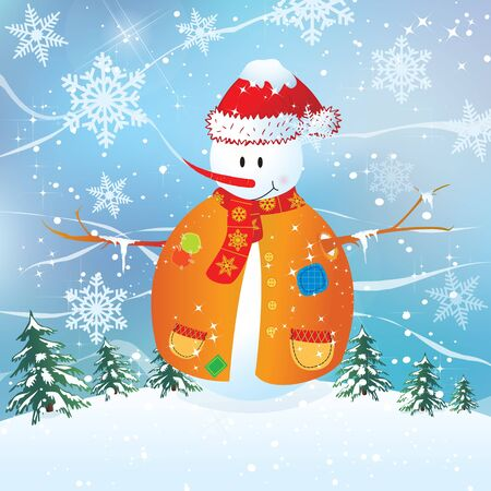 Vector Merry Christmas - Snowman background  Vector
