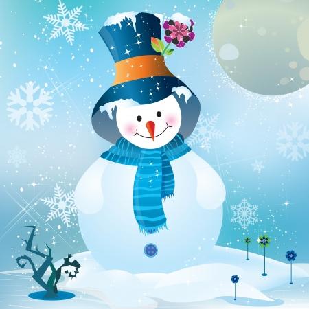 boule de neige: Bonhomme de neige vecteur dans un fond de nuit de pleine lune Illustration