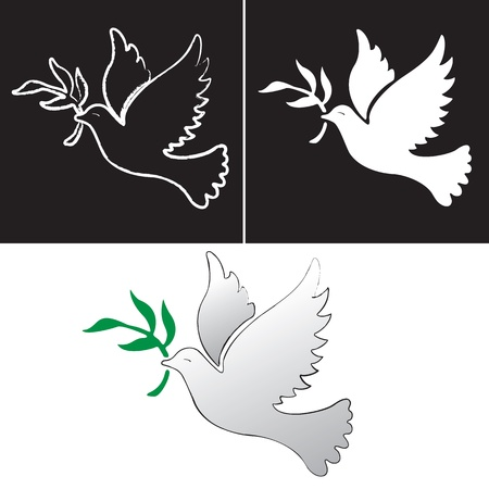 A free flying vector white dove symbol  Illustration