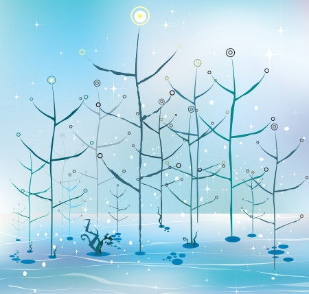 Vector winter background illustration  Stock Vector - 16554052
