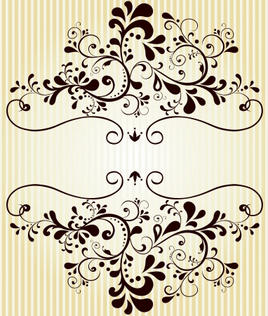 quadratic: Vector hermoso elemento floral vintage label