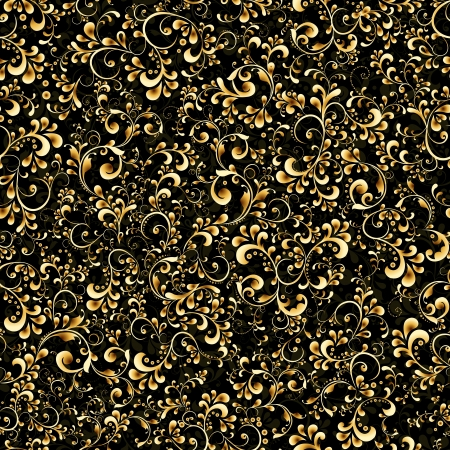 rococo: Vector elegant black and gold background from a floral ornament.