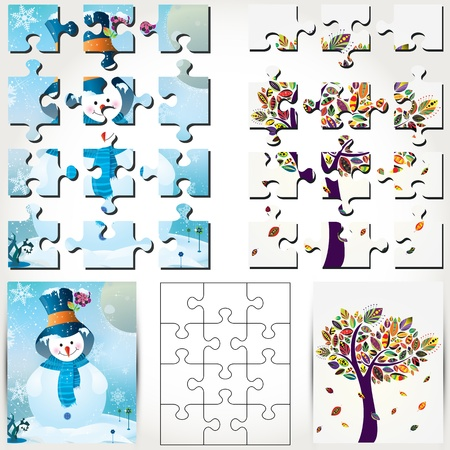 Vector snowman background and autumn tree background puzzle illustration. Vector