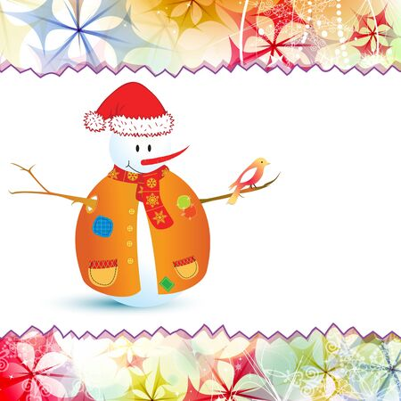 contemporary design: Vector Christmas card with snowman. Illustration