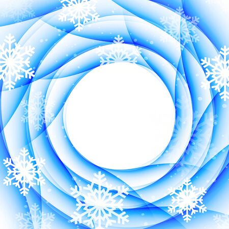 Vector abstract Christmas card with white snowflakes and lights. Vector