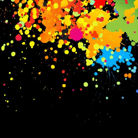 ink drops: Vector colorful paint, drops, ink splashes. Grunge illustration background. Illustration