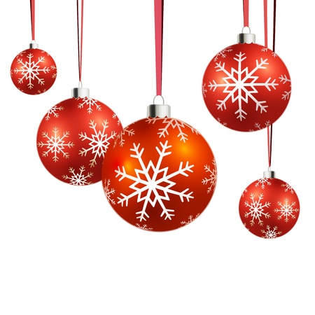 Vector Christmas balls hanging with ribbons on white background. Stock Vector - 16554001