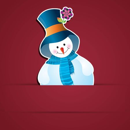 Vector Christmas snowman applique card. Vector