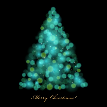 Vector Christmas tree with blurred lights on dark background. Stock Vector - 16554089
