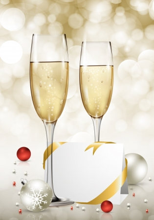 champagne celebration: Vector New Year card. Illustration