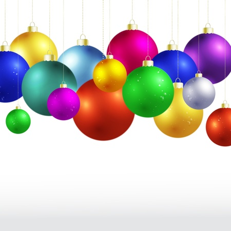 festive occasions: Vector many Christmas balls.